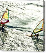 Windsurfing Silver Waters Canvas Print