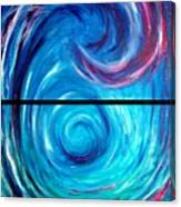 Windwept Blue Wave And Whirlpool Diptych 1 Canvas Print