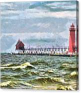 Windy Day At Grand Haven Lighthouse Canvas Print