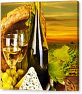 Wine And Cheese Romantic Dinner Outdoor Canvas Print