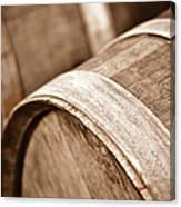 Wine Barrel In Cellar Canvas Print
