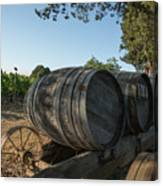 Wine Barrels At Vineyard Canvas Print