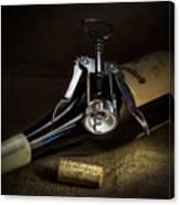 Wine Bottle, Corkscrew And Cork Canvas Print
