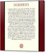 Wine Framed Sunburst Desiderata Poem Canvas Print