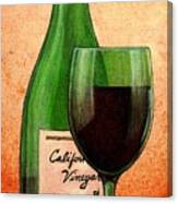 Wine Glass With Bottle Canvas Print