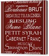 Wine List Red Canvas Print