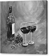 Wine On My Canvas - Black And White - Wine For Two Canvas Print