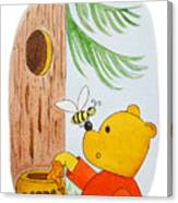 Winnie The Pooh And His Lunch Canvas Print