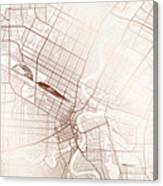 Winnipeg Street Map Colorful Copper Modern Minimalist Canvas Print