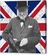 Winston Churchill And Flag Canvas Print