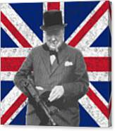 Winston Churchill And His Flag Canvas Print
