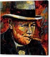 Winston Churchill Portrait Canvas Print