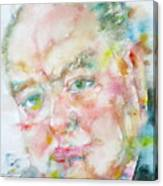 Winston Churchill - Watercolor Portrait.4 Canvas Print