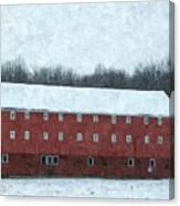 Winter Barn In Oil Canvas Print