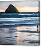 Winter Beach Stroll Canvas Print