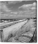 Winter Beach View - Black And White Canvas Print
