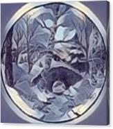 Winter Bridge In Blue Canvas Print