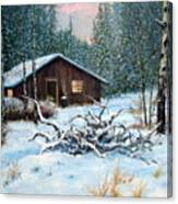 Winter Cabin Canvas Print