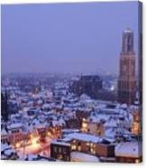 Winter Cityscape Of Utrecht In The Evening 14 Canvas Print