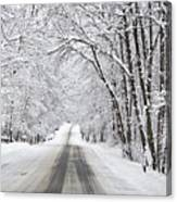 Winter Drive On Highway A Canvas Print