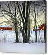 Winter Evening On The Farm Canvas Print