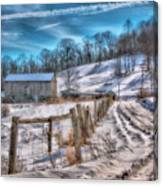 Winter Farm Barn In Snow  Canvas Print