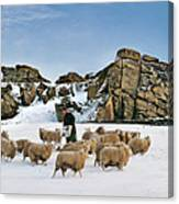 Winter Feed Almscliff Crag. Canvas Print