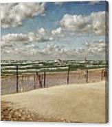Winter Fences In Grand Haven 2.0 Canvas Print