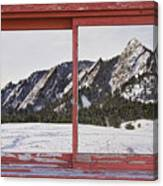 Winter Flatirons Boulder Colorado Red Barn Picture Window Frame  Canvas Print