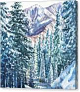 Winter Forest And Mountains Canvas Print