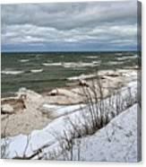 Winter Ice On Lake Michigan Ll Canvas Print