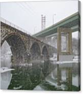 Winter In East Falls Along The Schuylkill River Canvas Print