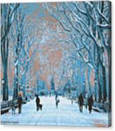 Winter In The City Park Canvas Print