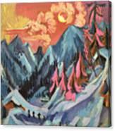 Winter Landscape In Moonlight Canvas Print