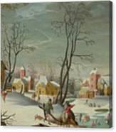 Winter Landscape Of A Village Canvas Print