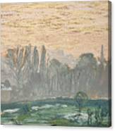 Winter Landscape With Evening Sky Canvas Print