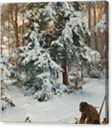 Winter Landscape With Hunters And Dogs Canvas Print