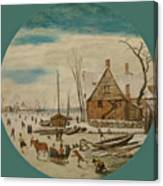 Winter Landscape With Skaters And A Farm House Canvas Print