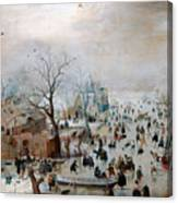 Winter Landscape With Skaters Canvas Print