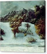 Winter Landscape With The Dents Du Midi Canvas Print