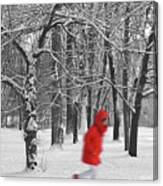 Winter Landscape With Walking Gir In Red. Blac White Concept Gra Canvas Print