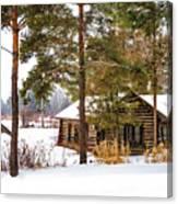 Winter Log Cabin 3 - Paint Canvas Print
