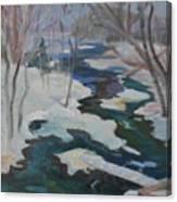 Winter Mill Stream  Canvas Print