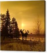 Winter Moose Statue Canvas Print