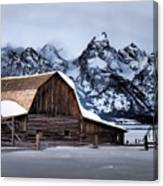 Winter Morning At John Moulton Barn Canvas Print