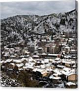 Winter Mountain Village Landscape With Snow Canvas Print