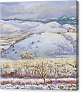 Winter Panorama From The River Mural Canvas Print