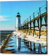 Winter Reflection At Manistee Light Canvas Print