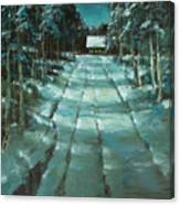 Winter Road In Village Canvas Print