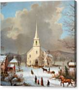 Winter Scene, C1875 Canvas Print
